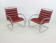 Ludwig Mies Van Der Rohe Classic Mid Century Modern Chrome Leather Lounge Chairs by Mies Van Der Rohe - 1039129