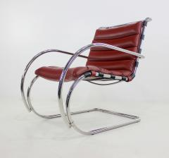 Ludwig Mies Van Der Rohe Classic Mid Century Modern Chrome Leather Lounge Chairs by Mies Van Der Rohe - 1039133