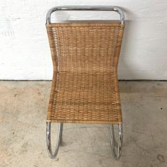 Ludwig Mies Van Der Rohe Early Mies Van Der Rohe MR 10 Chair in Wicker and Chrome Steel Italy 1950s - 1657781