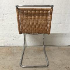 Ludwig Mies Van Der Rohe Early Mies Van Der Rohe MR 10 Chair in Wicker and Chrome Steel Italy 1950s - 1657782
