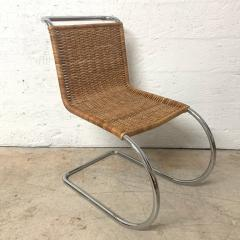 Ludwig Mies Van Der Rohe Early Mies Van Der Rohe MR 10 Chair in Wicker and Chrome Steel Italy 1950s - 1657802