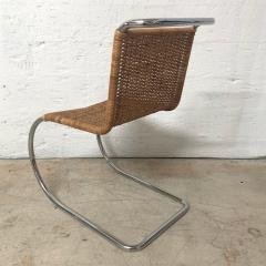 Ludwig Mies Van Der Rohe Early Mies Van Der Rohe MR 10 Chair in Wicker and Chrome Steel Italy 1950s - 1657803