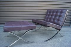 Ludwig Mies Van Der Rohe Eggplant Leather Barcelona Chair and Ottoman by Mies van der Rohe for Knoll - 955972