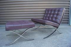 Ludwig Mies Van Der Rohe Eggplant Leather Barcelona Chair and Ottoman by Mies van der Rohe for Knoll - 955975