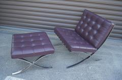 Ludwig Mies Van Der Rohe Eggplant Leather Barcelona Chair and Ottoman by Mies van der Rohe for Knoll - 955976