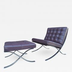 Ludwig Mies Van Der Rohe Eggplant Leather Barcelona Chair and Ottoman by Mies van der Rohe for Knoll - 959856
