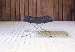 Ludwig Mies Van Der Rohe First Knoll Edition Vintage Barcelona Stool in Black Leather and Steel 1953 - 805044