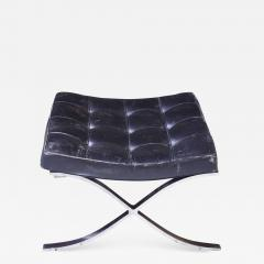 Ludwig Mies Van Der Rohe First Knoll Edition Vintage Barcelona Stool in Black Leather and Steel 1953 - 807218