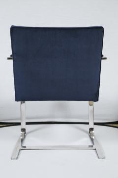 Ludwig Mies Van Der Rohe Flat Bar Brno Chair in Navy Velvet - 245501