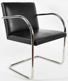 Ludwig Mies Van Der Rohe Knoll Brno Chairs in Black Leather - 1244677