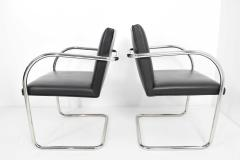 Ludwig Mies Van Der Rohe Knoll Brno Chairs in Black Leather - 1244681