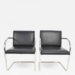 Ludwig Mies Van Der Rohe Knoll Brno Chairs in Black Leather - 1245462