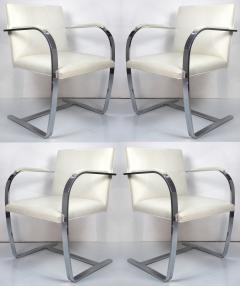 Ludwig Mies Van Der Rohe Mies Van Der Rohe Knoll Flat Bar Brno Chairs Eggshell White Leather Set of 4 - 1072390