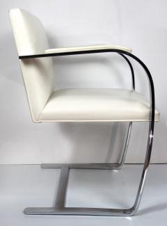 Ludwig Mies Van Der Rohe Mies Van Der Rohe Knoll Flat Bar Brno Chairs Eggshell White Leather Set of 4 - 1072391