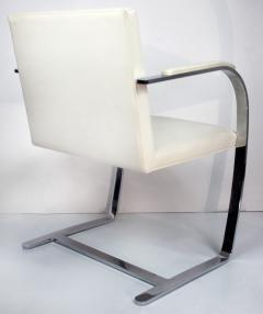Ludwig Mies Van Der Rohe Mies Van Der Rohe Knoll Flat Bar Brno Chairs Eggshell White Leather Set of 4 - 1072392