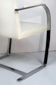 Ludwig Mies Van Der Rohe Mies Van Der Rohe Knoll Flat Bar Brno Chairs Eggshell White Leather Set of 4 - 1072393