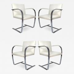 Ludwig Mies Van Der Rohe Mies Van Der Rohe Knoll Flat Bar Brno Chairs Eggshell White Leather Set of 4 - 1072912