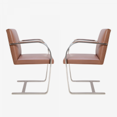 Ludwig Mies Van Der Rohe Mies van der Rohe for Knoll Brno Flat Bar Chairs in Cognac Leather - 301556