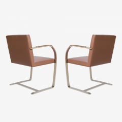 Ludwig Mies Van Der Rohe Mies van der Rohe for Knoll Brno Flat Bar Chairs in Cognac Leather - 301557