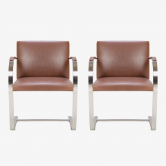 Ludwig Mies Van Der Rohe Mies van der Rohe for Knoll Brno Flat Bar Chairs in Cognac Leather - 301558