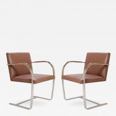 Ludwig Mies Van Der Rohe Mies van der Rohe for Knoll Brno Flat Bar Chairs in Cognac Leather - 301923