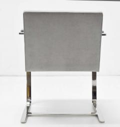 Ludwig Mies Van Der Rohe Set of Four Gray Suede Mies van der Rohe Brno Chairs - 1235214