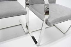 Ludwig Mies Van Der Rohe Set of Four Gray Suede Mies van der Rohe Brno Chairs - 1235216