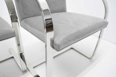 Ludwig Mies Van Der Rohe Set of Four Gray Suede Mies van der Rohe Brno Chairs - 1235217