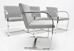 Ludwig Mies Van Der Rohe Set of Four Gray Suede Mies van der Rohe Brno Chairs - 1235218