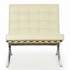 Ludwig Mies Van Der Rohe White Leather Barcelona Chair after Mies van der Rohe by Alivar - 715759
