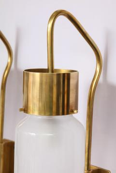Luigi Caccia Dominioni A pair Set of four LP 10 Azucena brass and opaline glass wall sconces - 1023225