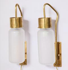 Luigi Caccia Dominioni A pair Set of four LP 10 Azucena brass and opaline glass wall sconces - 1023229