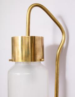 Luigi Caccia Dominioni A pair Set of four LP 10 Azucena brass and opaline glass wall sconces - 1023233
