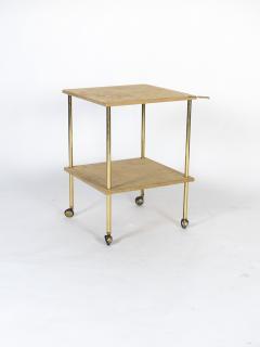 Luigi Caccia Dominioni Brass and Velvet T9 Side Table for Azucena 1970s - 1014344
