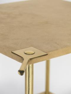 Luigi Caccia Dominioni Brass and Velvet T9 Side Table for Azucena 1970s - 1014346