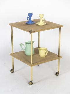 Luigi Caccia Dominioni Brass and Velvet T9 Side Table for Azucena 1970s - 1014347