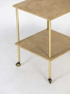 Luigi Caccia Dominioni Brass and Velvet T9 Side Table for Azucena 1970s - 1014348