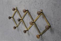 Luigi Caccia Dominioni Hanging clothes by Luigi Caccia Dominioni in brass and wood 1950s - 1308040