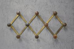 Luigi Caccia Dominioni Hanging clothes by Luigi Caccia Dominioni in brass and wood 1950s - 1308042