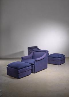 Luigi Caccia Dominioni Pair of Lounge Chairs with Ottoman by Caccia Dominioni for Azucena - 1951722
