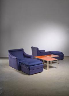 Luigi Caccia Dominioni Pair of Lounge Chairs with Ottoman by Caccia Dominioni for Azucena - 1951723