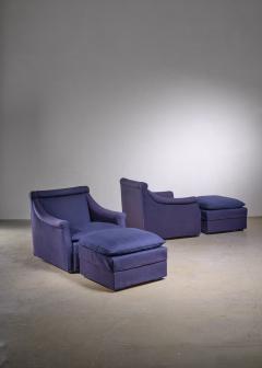 Luigi Caccia Dominioni Pair of Lounge Chairs with Ottoman by Caccia Dominioni for Azucena - 1951724