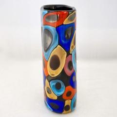 Luigi Camozzo Camozzo 1990 Modern Black Azure Blue Red Pink Yellow Murano Glass Vase - 2045799