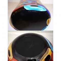 Luigi Camozzo Camozzo 1990 Modern Black Azure Blue Red Pink Yellow Murano Glass Vase - 2045800