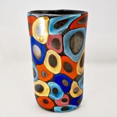 Luigi Camozzo Camozzo 1990 Modern Black Azure Blue Red Pink Yellow Murano Glass Vase - 2045806
