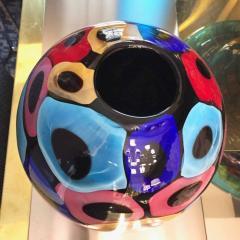 Luigi Camozzo Camozzo 1990 Modern Black Azure Blue Red Pink Yellow Murano Glass Vase - 2067709