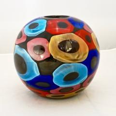 Luigi Camozzo Camozzo 1990 Modern Black Azure Blue Red Pink Yellow Murano Glass Vase - 2067710