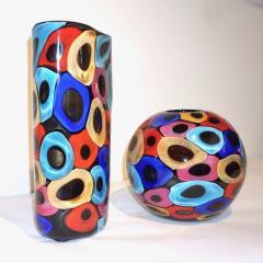 Luigi Camozzo Camozzo 1990 Modern Black Azure Blue Red Pink Yellow Murano Glass Vase - 2067712