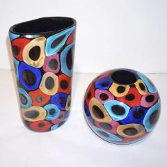 Luigi Camozzo Camozzo 1990 Modern Black Azure Blue Red Pink Yellow Murano Glass Vase - 2067713
