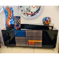 Luigi Camozzo Camozzo 1990 Modern Black Azure Blue Red Pink Yellow Murano Glass Vase - 2067714